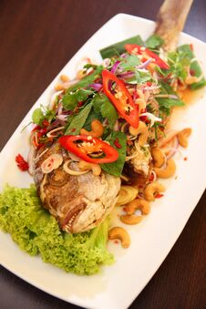 Thai Deep Fried Fish With Herb Salad Stock Images