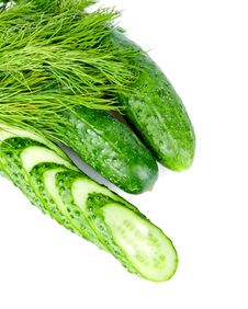 Slices Of Cucumber Is With Two Cucumber And Dill Royalty Free Stock Photos