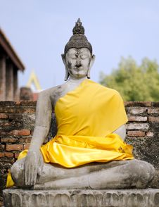Ancient Buddha Statue At Wat Yai Chai Mongkol In Ayutthaya, Thai