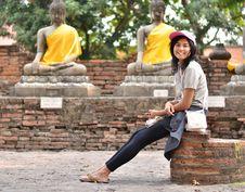 Free Beautiful Young Girl And Buddha At Wat Yai Chai Mongkol Temple Royalty Free Stock Photography - 30385777