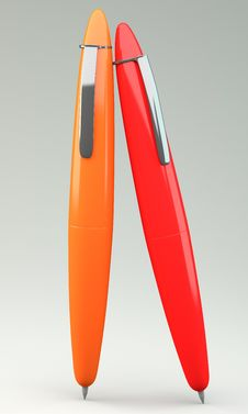 Free Orange And Red Ballpoint Pen Royalty Free Stock Images - 30387579