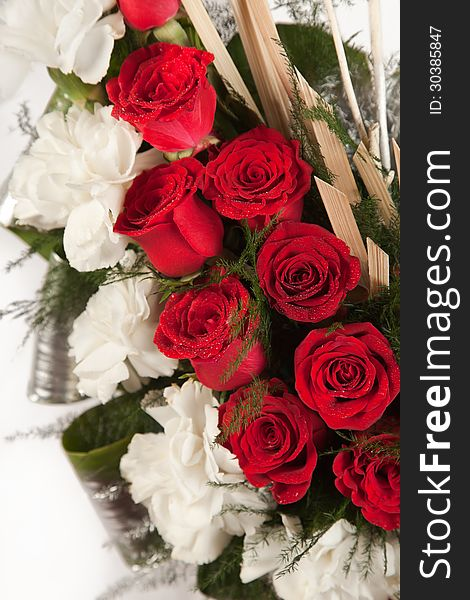 Bouquet of red and white rose flowers