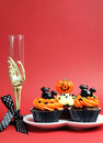 Free Halloween Party Food With Skeleton Hand Glass On Red Background - Vertical With Copyspace. Royalty Free Stock Images - 30399639