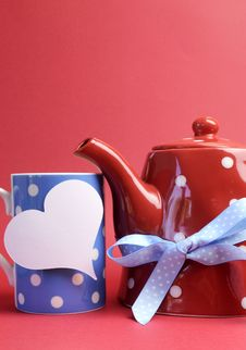 Red, White And Blue Breakfast With Heart Tag - Vertical With Copyspace. Stock Images