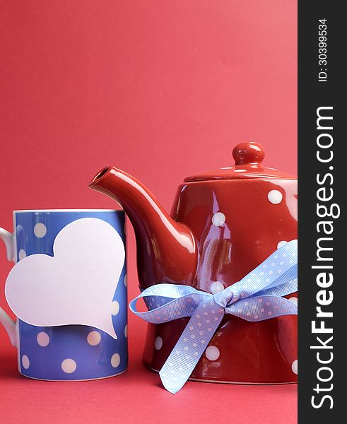 Red, white and blue breakfast with heart tag - vertical with copyspace.