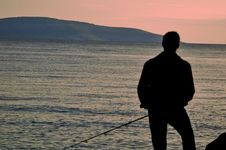Free Silhouette Fisherman Royalty Free Stock Image - 3040706