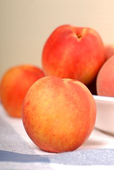 A Bowl With Fresh Peaches Stock Image