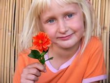 Free The Girl With A  Flower Stock Image - 3041481