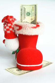 Red Boot With Money Royalty Free Stock Image