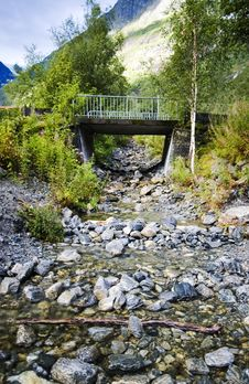 Bridge And Stream. Norway. Stock Photos