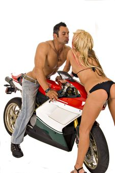 Two Sexy Models On Motorcycle Stock Photo