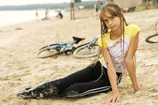 Free Small Girl On The Beach Stock Photo - 3049750
