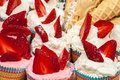 Free Delicious Vanilla Cupcake With Strawberry Frosting And Fresh Str Royalty Free Stock Image - 30407106