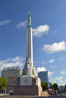 The Freedom Monument In Center Of Riga, Latvia, Europe Stock Photos