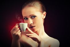 Free Sexy Woman Enjoying A Hot Cup Of Coffee On A Dark Background Stock Image - 30401501