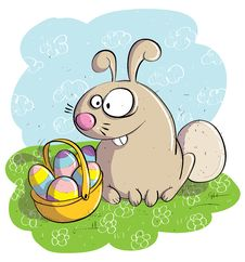 Free Easter Bunny With Basket Of Eggs Royalty Free Stock Photo - 30402375