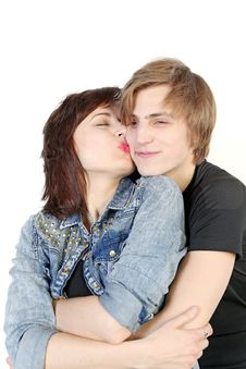 Young Caucasian Couple Kissing Royalty Free Stock Photos