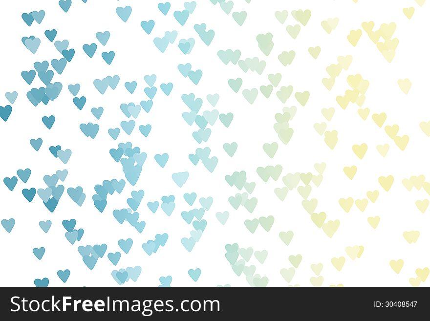Heart Bokeh &x28;blue, yellow&x29; on White Background
