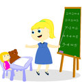 Free Girl Teaches Toys Stock Images - 30412904