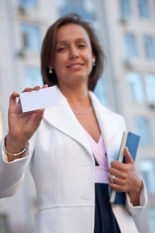 Free Woman With Business Card Across Office Stock Photo - 30413350