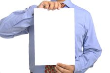 Free Businessman Holding White Paper Stock Photography - 30416902