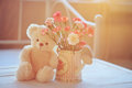 Free Teddy Bear And Flowers In The Pot Royalty Free Stock Photos - 30427068