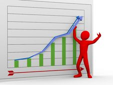 3d Man Pushing Chart Arrow Upward Stock Photo