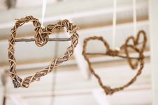 Free Wooden Weaved Hearts Hanging Off Roof Trusses At Wedding, Select Stock Images - 30433574