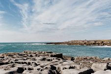 The Rolling Hills Of Burren And Atlantic Ocean Royalty Free Stock Photos