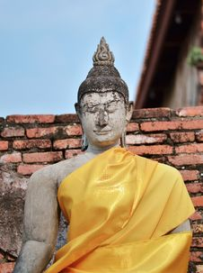 Stone Statue Of A Buddha In Thailand. Royalty Free Stock Photography