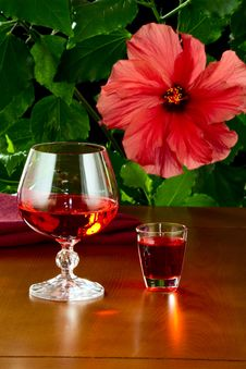 Free A Glass With Wine And A Small Glass With Liquor Royalty Free Stock Photo - 30440975