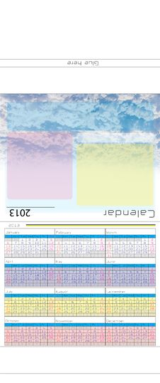 Free Table Calendar 2013 Template Royalty Free Stock Image - 30441616