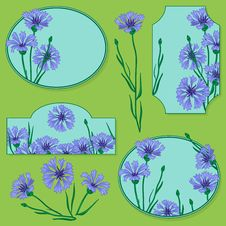 Set Of Elements With Blue Cornflowers Stock Photos