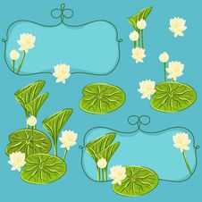 Free Vector Floral Set With Lotus Royalty Free Stock Images - 30443339