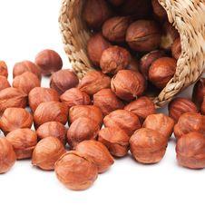 Hazelnuts And Basket Stock Photos