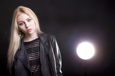 Gorgeous Blonde With A Light Behind Her And Lans Flare Royalty Free Stock Photography