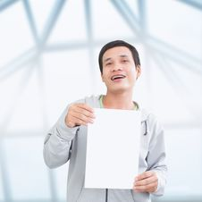 Asian Man With Blank Board Royalty Free Stock Photos