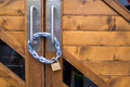 Free Iron Lock And Chain On Wood Door Stock Photography - 30450732