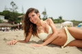 Free Woman With Beautiful Body On A Tropical Beach Royalty Free Stock Images - 30454579