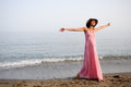 Free Beautiful Woman With Long Pink Dress On A Tropical Beach Royalty Free Stock Images - 30457389
