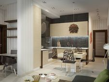 Free Modern Kitchen House Interior Royalty Free Stock Photography - 30454347