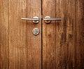 Free Double Wooden Door Handles Royalty Free Stock Photography - 30464537