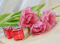 Free Tulips And Gifts Stock Photo - 30465410