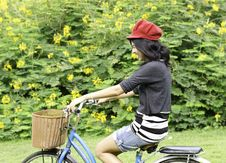 Free Young Woman Cycling And Having Fun Royalty Free Stock Image - 30460116