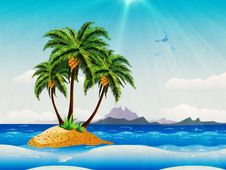 Grunge Tropical Island In The Ocean Royalty Free Stock Image