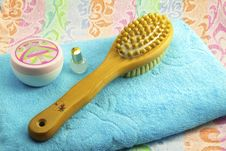 Wooden Brush With The Handle For Massage Of A Body And A Towel. Stock Image