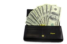 Free Dollar Banknotes In The Wallet Black Stock Images - 30464984