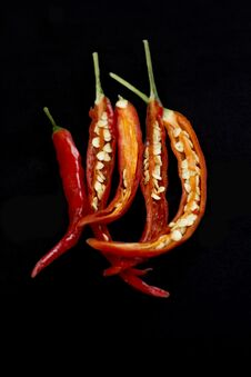 Free Chillies On Black Background Royalty Free Stock Photo - 30467055