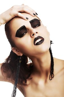 Free Expressive Emotions. Funky Woman Hipster With Crazy Black Makeup. Creativity Royalty Free Stock Images - 30473719