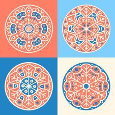 Set Of Four Decorative Round Elements Stock Image